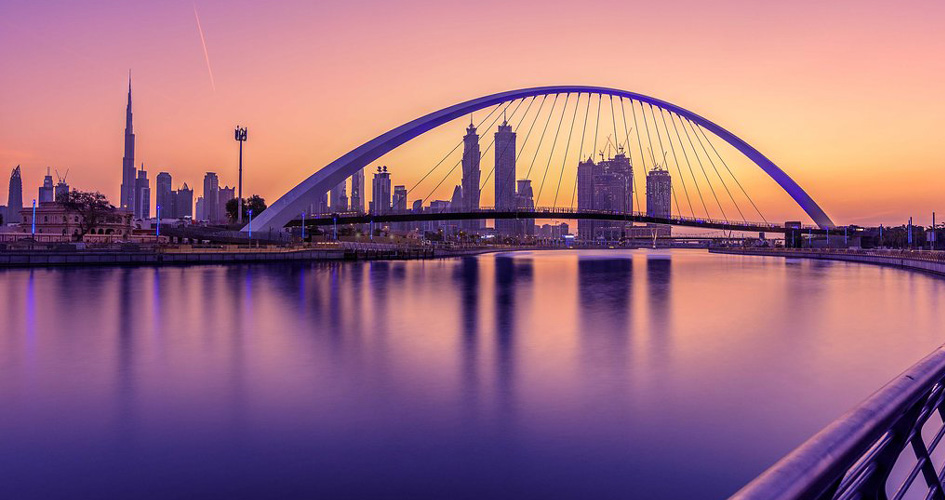 Dubai Water Canal sunset