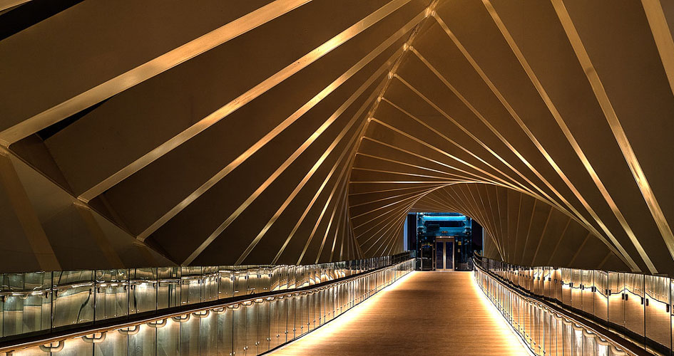 The swirling footbridge in Dubai Water Canal