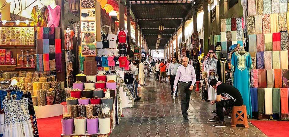 the textile souk in old dubai
